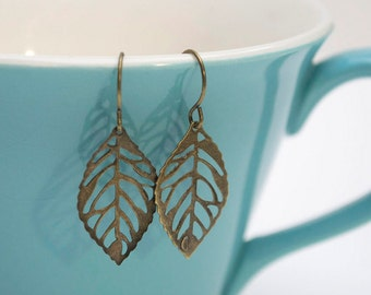 Petite Bronze Leaf Earrings- Small Antique Bronze Leaf