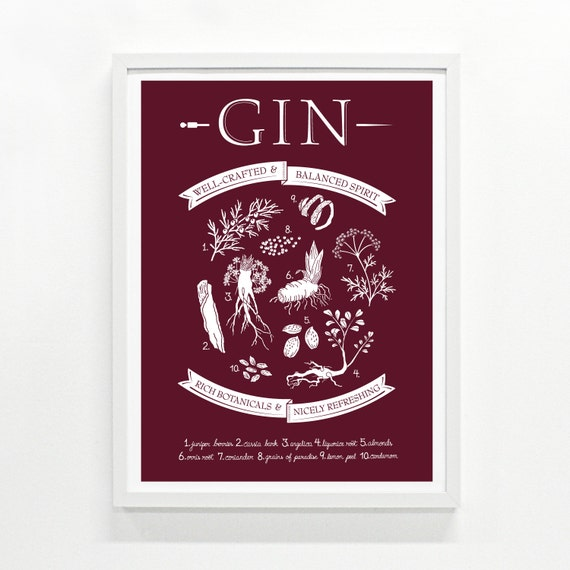 Gin Print - Hand Printed, 18 x 24 -  Pick Your Color