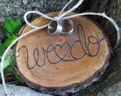 Ring Bearer Wood Slice - Eco-Friendly Wood Burned Ohio Cherry Wood Ring Bearer Pillow - Rustic Eco-Chic for Woodland Wedding