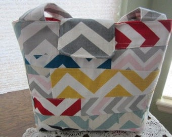 Quilted Hobo Bag Chevron Zig Zag Pockets - Ready to Ship