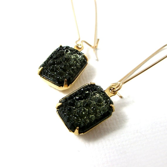 Sugar stone black earrings 14k gold fill kidney earring wires for Jewelry made from kidney stones