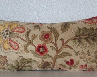 Tan botanical lumbar pillow cover - Tan yellow and green accent pillow cover