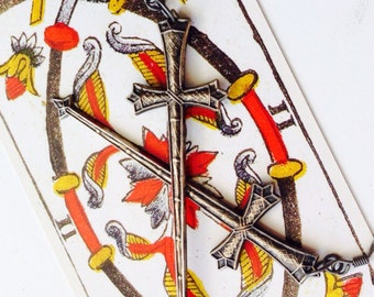 Two of Swords- Hand-finished Silver-plated Longsword Earrings for all you Tarot-Warrior types