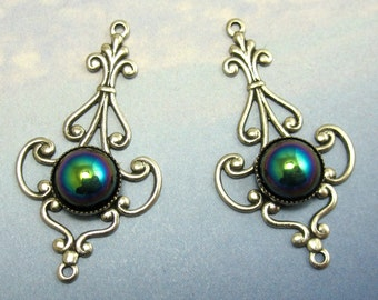Silver Filagree Earring Finding Vintage Glass Cabochon pair in Silver setting sbg