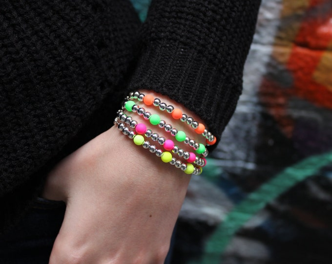 Fluro neon and silver bracelet. Pick your colour.