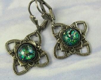 Green Opal Earrings, Emerald Green Fire Opal, Antique Silver Filagree, Art Deco Jewelry
