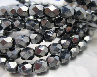 Metallic Gun Metal Firepolished 6mm Czech Glass Beads