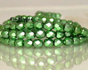 Carmen Emerald, Czech Beads Fire Polished 4mm 50 Faceted Round GLass