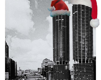Marina City Santa Hat - Chicago -  Christmas Card