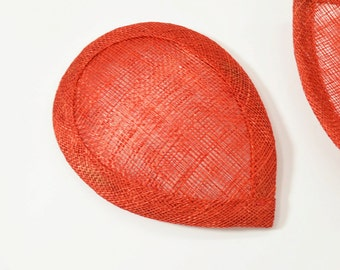 Sinamay Teardrop Hat Base, Quality Millinery Supplies, Triple Hot Pressed Sinamay, Red (1pc)