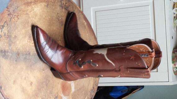 Vintage Santiags, bottes Lucchese, botte de cowboy marron 5 1/2 B