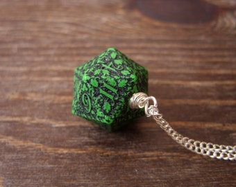 D20 dice necklace forest dice pendant dungeons and dragons geek geekery green black dice pendant pathfinder jewelry D20 girl