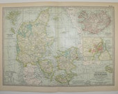 1902 Vintage Map of Denmark, Iceland Map, Antique Art Map, Danish Decor, European Travel Map, 1st Anniversary Gift for Couple