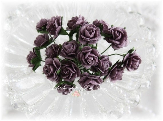 Miniature Roses~Plum~ Set of 20 for Scrapbooking, Cardmaking, Altered Art, Wedding, Mini Album