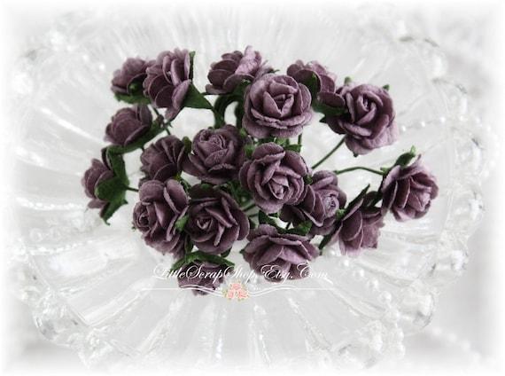 Miniature Roses~Plum~ Set of 20 for Scrapbooking, Cardmaking, Altered Art, Wedding, Mini Album