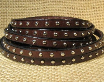 5mm Flat Studded Leather  - Dark Brown - SL5-2 - Choose Your Length
