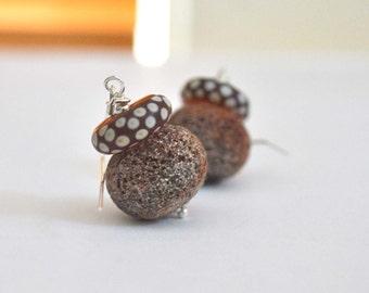 Red Polka Dot Earrings on Sterling Silver, Rough Lampwork Glass Beads Earrings