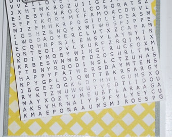 Welcome Baby word search card