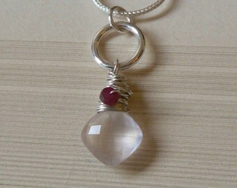 Rose Quartz, Ruby, Sterling Silver Circle Pendant Necklace, Wire Wrapped, Drop, Dangle