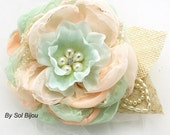 Hair Clip, Wedding, Bridal, Fascinator, Clip, Mint, Coral, Crystals, Pearls, Burlap, Linen, Rustic, Elegant, Vintage