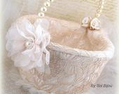 Flower Girl Basket, Champagne, Tan, Beige, Ivory, Bridal, Gold Basket, Lace Basket, Pearls, Crystals, Vintage, Elegant Wedding, Large