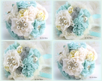 Bridesmaids Bouquets, Ivory, Cream, Seafoam, Aqua, Blue, Yellow, Silver, Toss Bouquet, Elegant Wedding,Maid of Honor, Lace, Crystals, Pearls