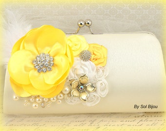 Clutch, Yellow, Ivory, Cream, Handbag, Pearls, Bridal, Elegant Wedding,Bridesmaids, Maid of Honor, Purse, Feathers, Brooch, Crystals