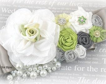 Sash, Lime Green, White, Silver, Gray, Wedding, Bridal, Maid of Honor, Flower Girl, Pearls, Crystals, Vintage, Garden Wedding