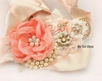 Sash, Coral, Blush, Peach, Gold, Ivory, Bridal, Wedding, Lace, Crystals, Chiffon, Pearls, Satin, Brooch, Vintage, Elegant