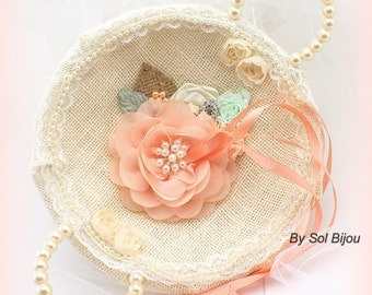 Ring Tray, Ivory, Coral, Peach, Mint,Alternative Ring Pillow, Tray, Round, Elegant Wedding,  Burlap, Lace, Crystals, Pearls, Vintage Style