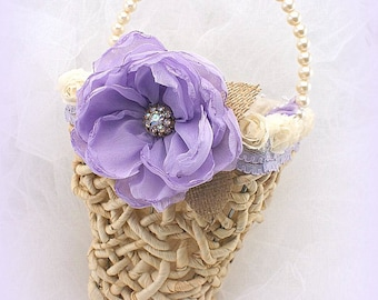 Flower Girl Basket, Ivory, Lilac, Linen, Straw Basket,Burlap, Lace, Crystals, Pearls Shabby Chic, Rustic, Outdoor Wedding, Pearl Handle