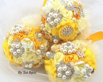Bridesmaids Bouquets, Brooch Bouquets, Yellow, Silver, Pewter, Gray, Grey, Maid of Honor, Elegant Wedding, Pearls, Brooches, Crystals