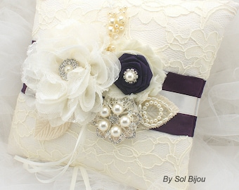 Ring Bearer Pillow, Ivory, Cream, Purple, Plum, Lace , Bridal, Wedding, Brooch, Crystals, Pearls, Vintage, Elegant, Gatsby Wedding