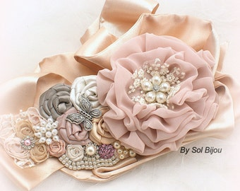 Wedding Sash, Blush, Pink, Ivory, Tan, Beige, Silver, Champagne, Gray, Butterflies, Crystals, Pearls, Lace, Elegant Wedding, Vintage Style
