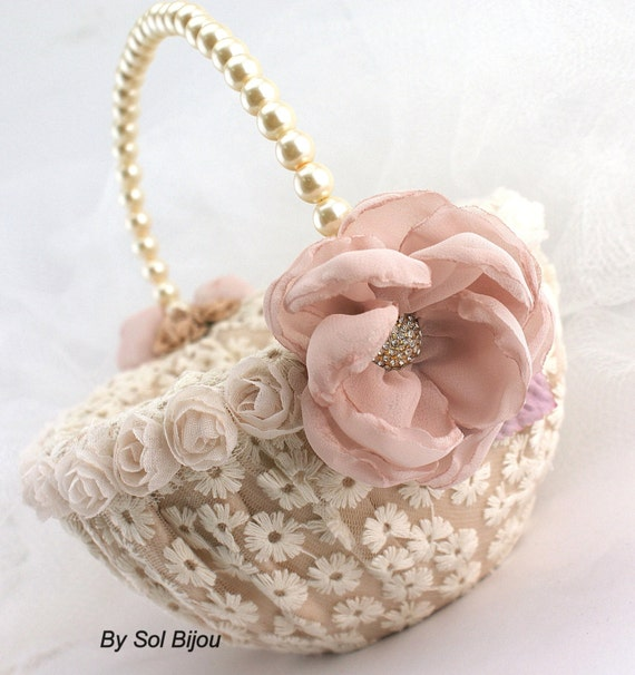 Flower Girl Basket Bridal Basket in Ivory, Champagne, Gold and Blush- Vintage Touch