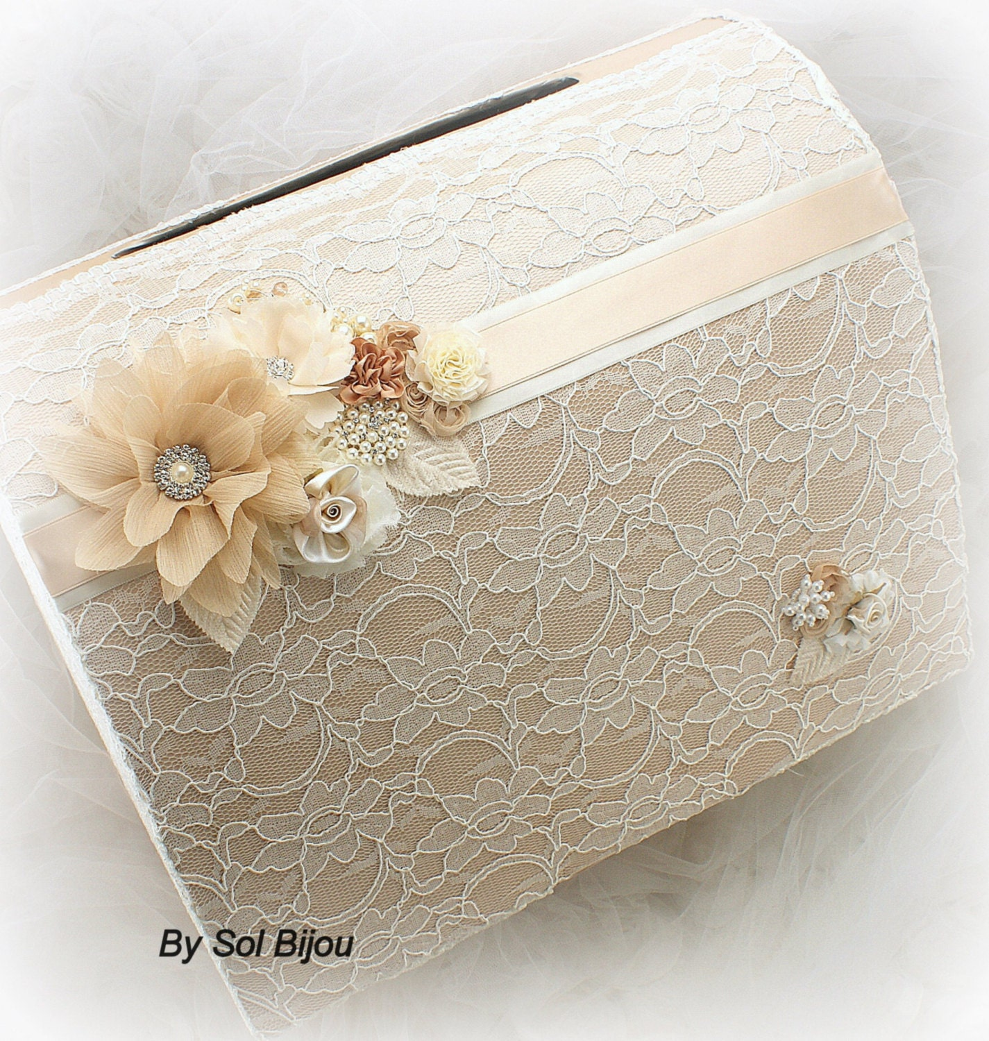 Wedding Money Box: Wedding Money Box Tan ChampagneIvory GoldInvitation