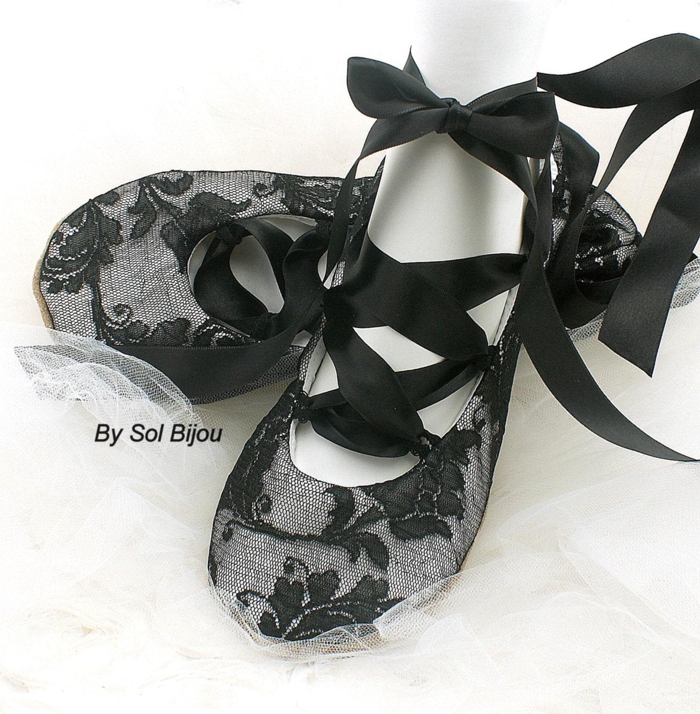 black flats ballet flats wedding bridal lace up flats