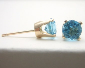 Swiss Blue Topaz 14K Gold Stud Earrings - Gold Earrings - 3 mm 4 mm 5 mm - Post Earrings - Topaz Earrings - Birthstone Earrings - 14K Gold