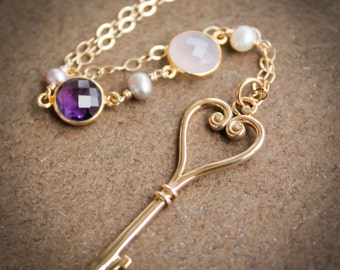 Gold Skeleton Key Layering Necklace - Pearls, Chalcedony, Amethyst - French Couture Inspired