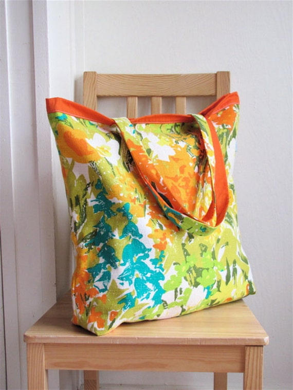 Sunny Bright Blooming Fields Upcycled Shopper - Mid Century Yellow Floral Upholstery Linen - Grocery / Travel - Eco Friendly Gift OOAK