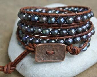 Abigail Freshwater Pearl Beaded Leather Wrap Bracelet