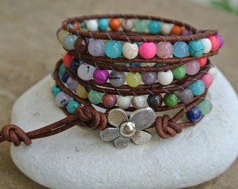 Flower Garden Gemstone Beaded Leather Wrap Bracelet