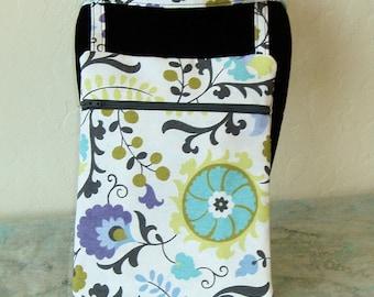 Crossbody bag, Floral mini messenger bag, runner's bag, passport holder, cell phone bag, dog walking bag. KBD10148