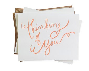 Thinking of You letterpress card - set of six