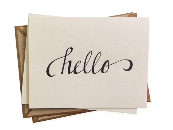 SALE Hello letterpress card - set of six