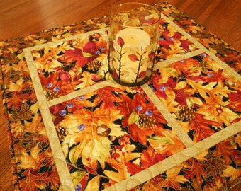 Fall Quilted Table Topper, Autumn Leaves and Pinecones, Square Table Topper, Thanksgiving Table Decoration, Fall Table Runner