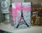 FRENCH decor pink and gray EIFFEL Tower block PARIS decor,French wall decor,shabby chic,Paris bedroom decor,French bedroom