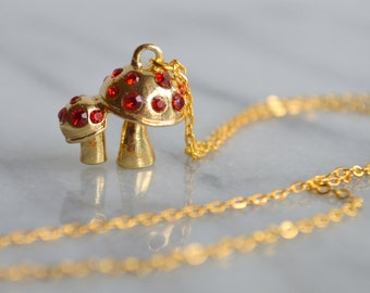 Mushroom Necklace, gold, womens jewelry, toadstool, gift for her, by ktnunna