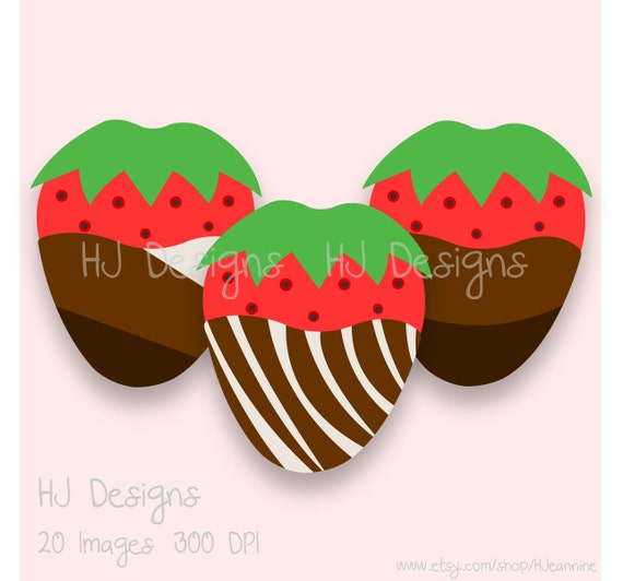 Items similar to 20 Chocolate Covered Strawberry Clipart ...