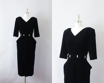 Final Sale // 1940s style evening dress / vintage Janet Russo rhinestone velvet cocktail dress / With a Twist